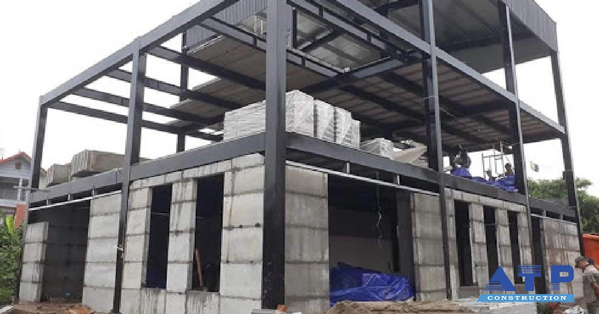 nhà xưởng khung thép 2 tầng